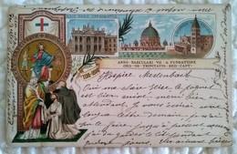 CPA Gruss VATICAN . 1198 -1898 . ANNO . SAECULARI . VII . A . FUNDATIONE ORD SS TRINITAS. RED. CAPT + Oblitération Train - Vatican