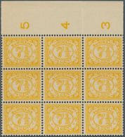 Surinam: 1931, Numeral Definitive 7½c. Yellow In A Lot With About 180 Stamps Mostly In Larger Blocks - Surinam ... - 1975
