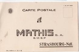 Strasbourg (67 Bas Rhin) Carte Réponse MATHIS  (PPP16922) - Publicités