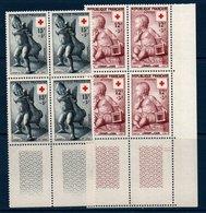FR 1955  Au Profit De La Croix-Rouge N° YT 1048-1049 ** MNH En Bloc De 4 Coin De Feuille - France