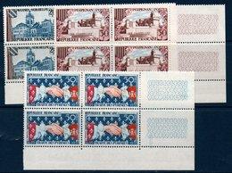 FR 1959  Anniversaire Du Traité Des Pyrénées     N° YT 1221-1223  ** MNH En Bloc De 4 Coin De Feuille - France