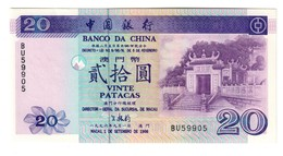 Macao Banco Da China 20 Patacas 1996 UNC - Macao