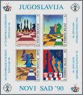 Thematik: Spiele-Schach / Games-chess: 1990, Yugoslavia. CHESS OLYMPIAD, Novi Sad. Lot With 100 Bloc - Schach
