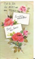 CARTE DOUBLE PAGE FETE DES MERES  ET DES PERES  ROSES - Fête Des Mères