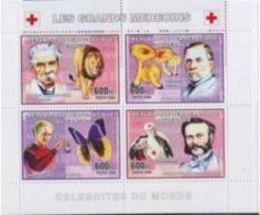 Congo 2006 Nobel Red Cross Croix Rouge DUNANT Albert SCHWEITZER Louis Pasteur Marie CURIE Lion Papillon Champignon MNH - Nobel Prize Laureates