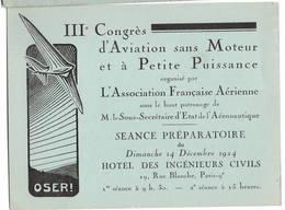 IIE Congrès D'aviation Sans Poteur Vol à Voile Planeur  1924 - Vieux Papiers