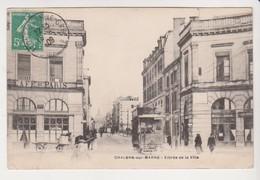 26773 Chalons Sur Marne -entrée Ville - Sans Ed -1909 Tramway Caleche Café Paris - Châlons-sur-Marne