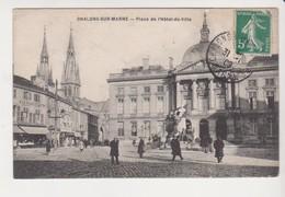 """26774 Chalons Sur Marne Place Hotel De Ville - Sans Ed -1909 Café """"ville De Lyon """" - Châlons-sur-Marne"""