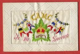 """Jolie Carte Brodée """" CAMC Je Me Souviens """" Drapeaux Germany/great Britain Italia France Croix Rouge Et Autre - Brodées"""