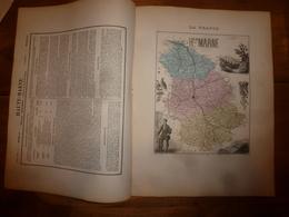 1880 Hte MARNE  (Chaumont Langres,Vassy,Doulevant,Arc,Andelot,Joinville,etc) Carte Géo-Descriptive: Edit Migeon,géograph - Geographische Kaarten