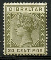 Gibralter 1895 20c Queen Victoria Issue #31  MH - Gibraltar