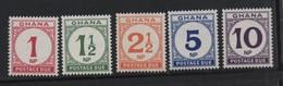 LOT 21 - GHANA TAXES  N° 19/23 ** - TIMBRES TAXES - Ghana (1957-...)