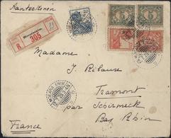 Indes Néerlandaises YT 138 + 137 X2 Wilhelmine + 134 X2 Recommandé CAD + Vignette Moera Enim 12 7 29 Sumatra Tramont - Indes Néerlandaises