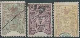 Turchia Turkey Ottomano Ottoman , Revenue Stamps, Used,three Values 1-2-10 Pa - 1858-1921 Ottoman Empire
