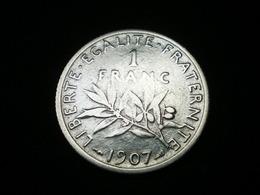 1 FRANC ARGENT SEMEUSE DE ROTY 1907   GAD 467   (  Lotplbleu3/6  ) - France