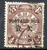 ASIE - (CHINE - EMPIRE) - 1904 - Taxe - N° 1 - 1/2 C. Brun - (Dragon) - Oblitérés