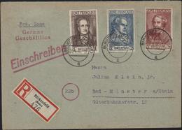 Allemagne Occupation YT Zone Française 11 à 13 Goethe Schiller Heinrich Heine Recommandé Birkenfeld Nahe CAD 20 4 46 - Zone Française