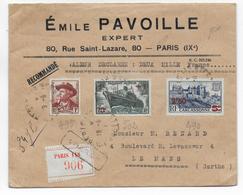 1941 - ENVELOPPE CHARGEE De PARIS => LE MANS - MISTRAL + PAQUEBOT PASTEUR + CARCASSONNE SURCHARGE - Postmark Collection (Covers)