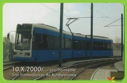 Voyo POLAND CRACOW Monthly Ticket  New Line To Kurdwanow Tram 2001 Plastic Card - Week-en Maandabonnementen