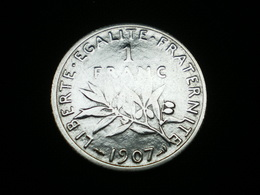 1 FRANC ARGENT SEMEUSE DE ROTY 1907   GAD 467   (  Lotplbleu3/16 ) - Frankreich