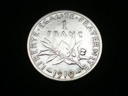 1 FRANC ARGENT SEMEUSE DE ROTY 1910   GAD 467   (  Lotplbleu3/18 ) - France