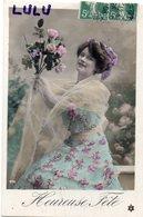 FEMMES 732 : Belle Robe Voile Fleurs Heureuse Fête ; édit. P C 474 - Femmes