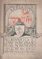 APPIANO GENTILE  INAUGURAZIONE MONUMENTO AI CADUTI MCMXX. - Bibliografie