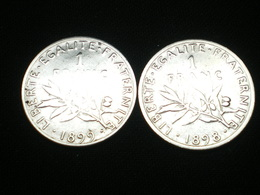 LOT 2 X 1 FRANC ARGENT SEMEUSE DE ROTY 1898-1899    GAD 467   (  Lotplbleu3/19 ) - France