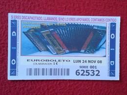 SPAIN DÉCIMO CUPÓN DE OID LOTERÍA LOTTERY LOTERIE INSTRUMENTOS MUSICALES DE VIENTO ACORDEÓN ACCORDION ACCORDÉON VER FOTO - Billetes De Lotería
