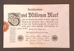 EBN8 - Germany 1923 Banknote 2 Millionen Mark Pick 103 #10A.076311 - [ 3] 1918-1933 : Weimar Republic