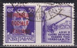 Repubblica Sociale Italiana, 1944 - 50c Esercito, Soprastampato - Nr.PG37 Usato° - 4. 1944-45 Repubblica Sociale