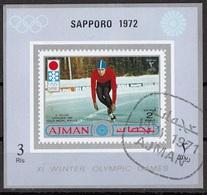 Ajman 1971 Mi. 767B E. Keller Oro Gold Grenoble 1968 Pattinaggio (Sapporo '72) Sheet Nuovo CTO Imperf. - Inverno1968: Grenoble