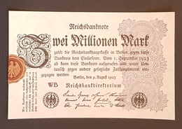 EBN8 - Germany 1923 Banknote 2 Millionen Mark Pick 104d #WB - [ 3] 1918-1933 : Repubblica  Di Weimar