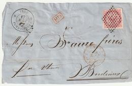 INDE FRANCAISE Devant De Lettre 1867 PONDICHERY - Aigle Impérial