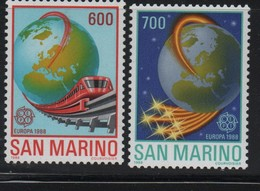 LOT 247 - SAINT MARIN  N°  1179/1180 **- MONORAIL - GLOBE TERRESTRE - Europa-CEPT