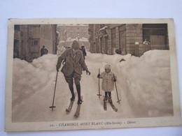 CARTE POSTALE CHAMONIX DEBUT DANS LA NEIGE 1924 - Chamonix-Mont-Blanc