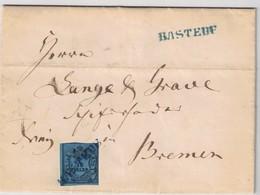 """1854, 1/10 Th (Type III) Auf Komplettem Faltbrief Mit L1 """"RASTEDE"""" In Blau Nicht Registriert. - Oldenburg"""