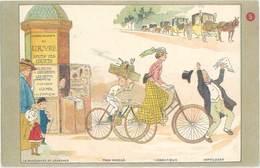 CPa Grands Magasins Du Louvre – Marchande, Kiosque, Vélos   ( PUB ) - Advertising