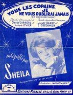 SHEILA  - PARTITION VOUS LES COPAINS JE NE VOUS OUBLIERAI JAMAIS - 1963 - - Musique & Instruments