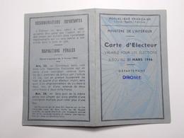 Document Carte Electeur Du 18/09/1945 St Marcel Les Valence (11/12) - Vieux Papiers