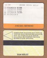 AC - SUBWAY MULTIPLE RIDE METROCARD, BUS CARD #42 ANKARA, TURKEY - Titres De Transport
