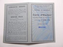 Document Carte Electeur 18/09/1945  St Marcel Les Valence (15/16) - Vieux Papiers