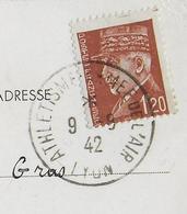 1942 - CARTE + OBLITERATION Du CHAMPIONNAT D'ATHLETISME De L'ARMEE De L'AIR à LYON - VOIR DOS - Marcophilie (Lettres)