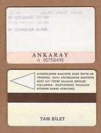 AC - SUBWAY MULTIPLE RIDE METROCARD, BUS CARD #46 ANKARA, TURKEY - Titres De Transport