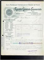 FACTURE 1910 EAUX MINERALES DU BASSIN DE VICHY SAINT YORRE ALLIER - Alimentare
