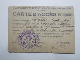 Document Carte D'Accès Commission De Port & Police Navigation (23/24) - Vieux Papiers