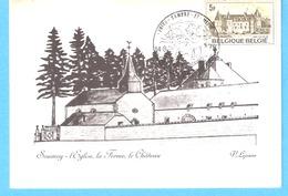 Soumoy-Cerfontaine-L'Eglise, La Ferme , Le Château-Dessin De V.Lejeune-cachet De Complaisance-1978-Timbre Ham-sur-Heure - Cerfontaine