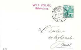 Schweiz 1937:  Zu 202 Mi 298 Yv 290 O WIL (St.G.) Bahnhofplatz 30.IV.37 AUTOMOBIL-POSTBUREAU - Suisse