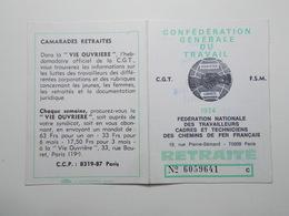 Document Carte Confédérale Adhérent CGT SNCF 1974 (29/30) - Vieux Papiers
