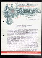 FACTURE 1908 MANUFACTURE DE CARTONNAGES CHAUVIN A VALREAS VAUCLUSE - Imprimerie & Papeterie